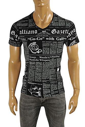 Mens Designer Clothes | JOHN GALLIANO Men's V-Neck Short Sleeve Tee #43