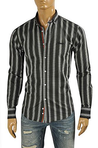 Mens Designer Clothes | GUCCI Men's Button Front Dress Shirt #348