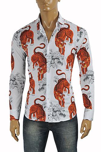 Mens Designer Clothes | GUCCI Men's Tiger Dress Shirt #370