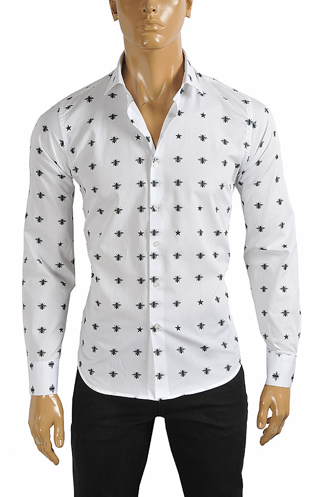 Mens Designer Clothes | GUCCI Men's Dress shirt with bee print in white color 392