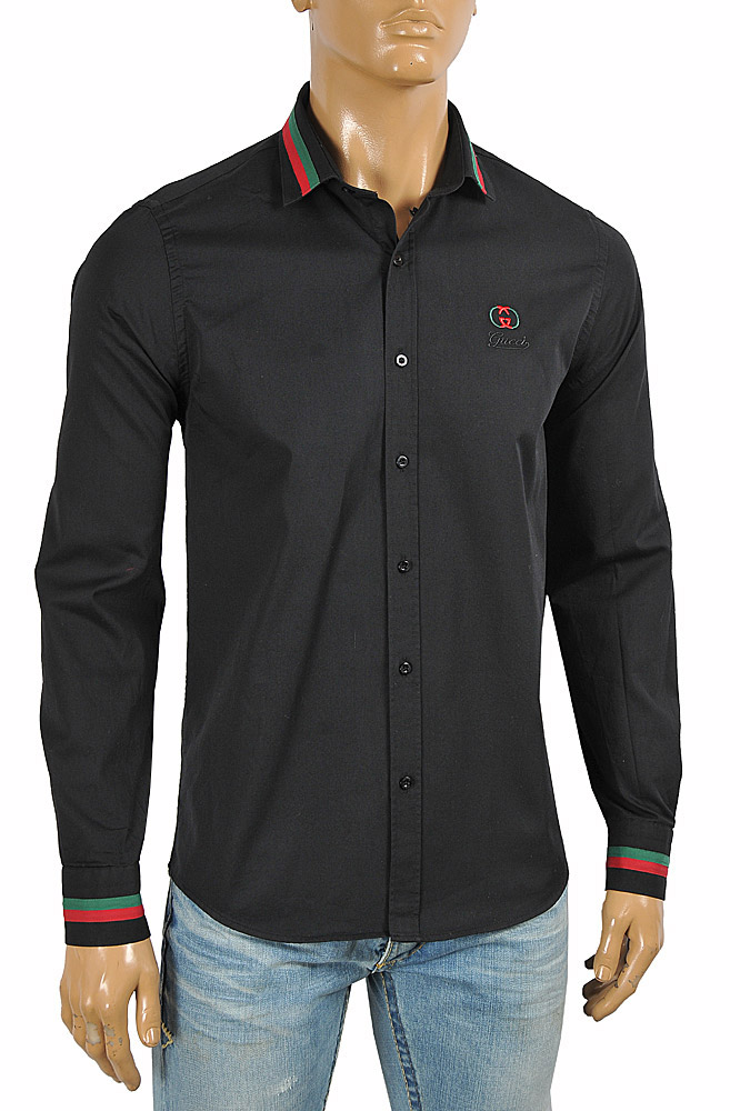 Mens Designer Clothes | GUCCI men's dress shirt embroidered with logo 398