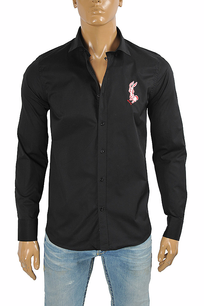 Mens Designer Clothes | GUCCI men's dress shirt with front bunny embroidery 399