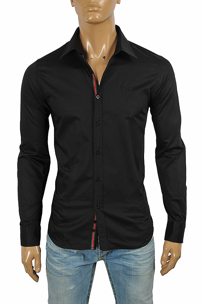 Mens Designer Clothes | GUCCI men's dress shirt with front logo embroidery 416