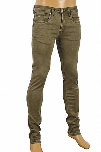 Mens Designer Clothes | GUCCI Men's fitted stretch jeans with Bee leather batch #94