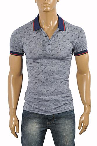 Mens Designer Clothes | GUCCI Men's cotton polo with stripe #367
