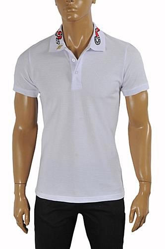 Mens Designer Clothes | GUCCI Men's cotton polo with Kingsnake embroidery #375