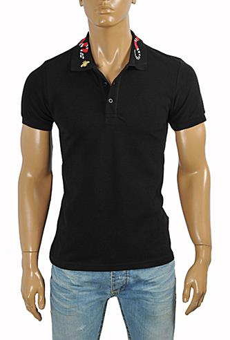 Mens Designer Clothes | GUCCI Men's cotton polo with Kingsnake embroidery #377