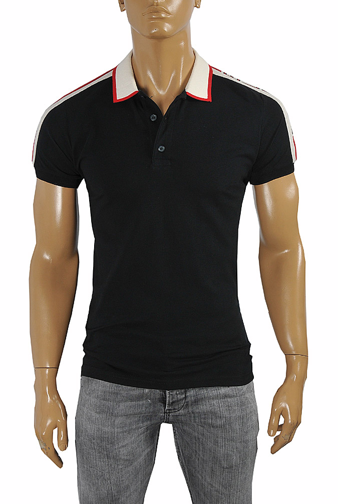Mens Designer Clothes | GUCCI men's cotton polo with GUCCI stripe in black color #384