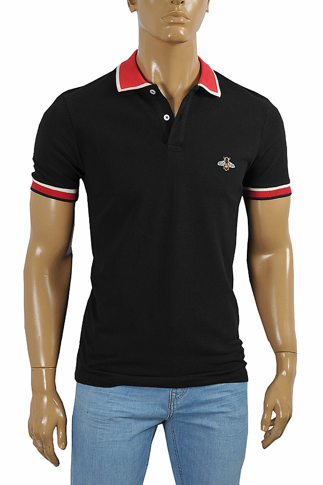 Mens Designer Clothes | GUCCI Men's cotton polo with Bee embroidery appliqué 389