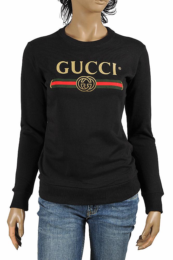 Womens Designer Clothes   GUCCI women's cotton sweatshirt ...