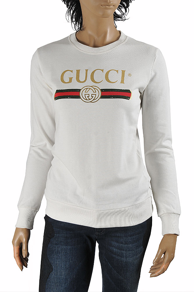 Womens Designer Clothes | GUCCI women's cotton sweatshirt with front logo print 113