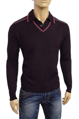 Mens Designer Clothes | GUCCI Mens V-Neck Polo Style Sweater #24