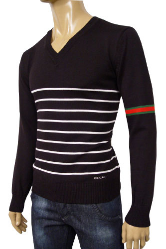 Mens Designer Clothes | GUCCI Mens V-Neck Fitted Sweater #30