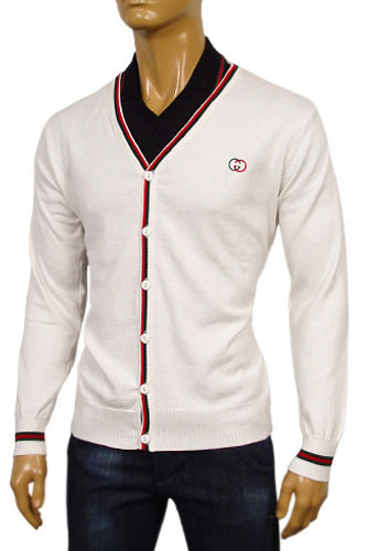 Mens Designer Clothes | GUCCI Mens V-Neck Button Up Sweater #32