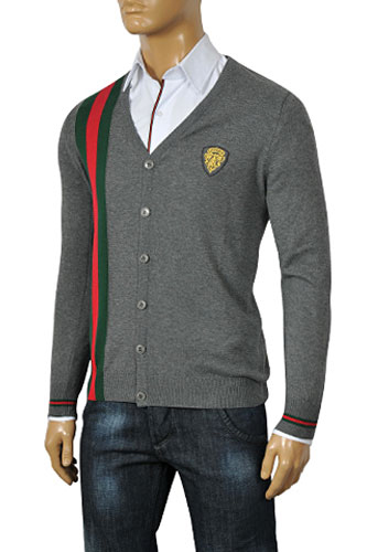 Mens Designer Clothes | GUCCI Men's V-Neck Button Up Sweater #57