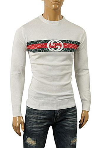 Mens Designer Clothes | GUCCI Men's Crew Neck Knit Cotton Sweater #79