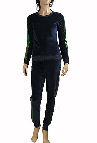 Womens Designer Clothes | GUCCI Ladies Tracksuit In Navy Blue #150