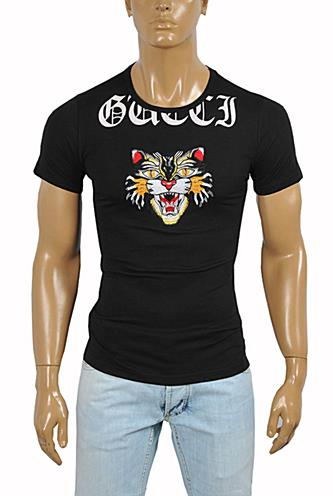 Mens Designer Clothes | GUCCI Cotton T-Shirt with Angry Black Cat Embroidery #214