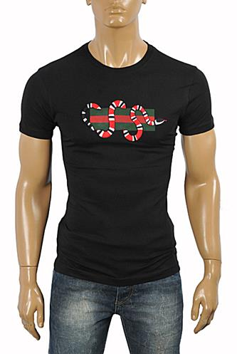 Mens Designer Clothes | GUCCI Snake embroidered cotton T-Shirt #222