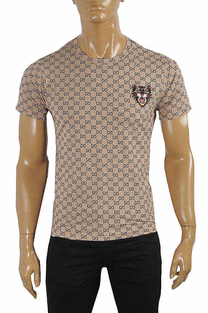Mens Designer Clothes | GUCCI Cotton T-Shirt with Angry Cat Embroidery #245