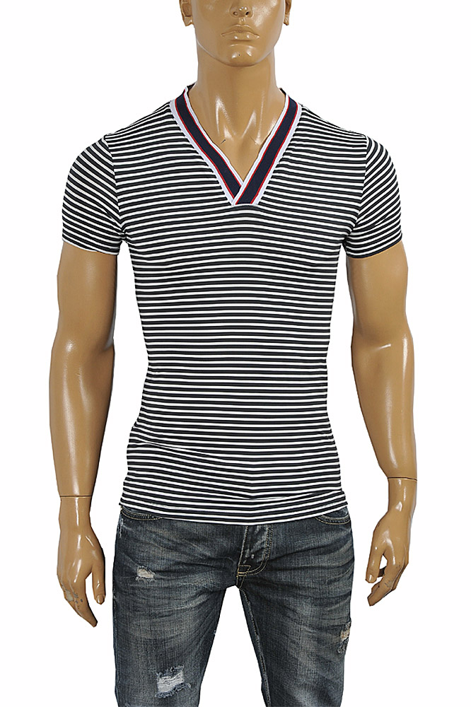 Mens Designer Clothes | GUCCI cotton V-neck T-shirt collar embroidery #249