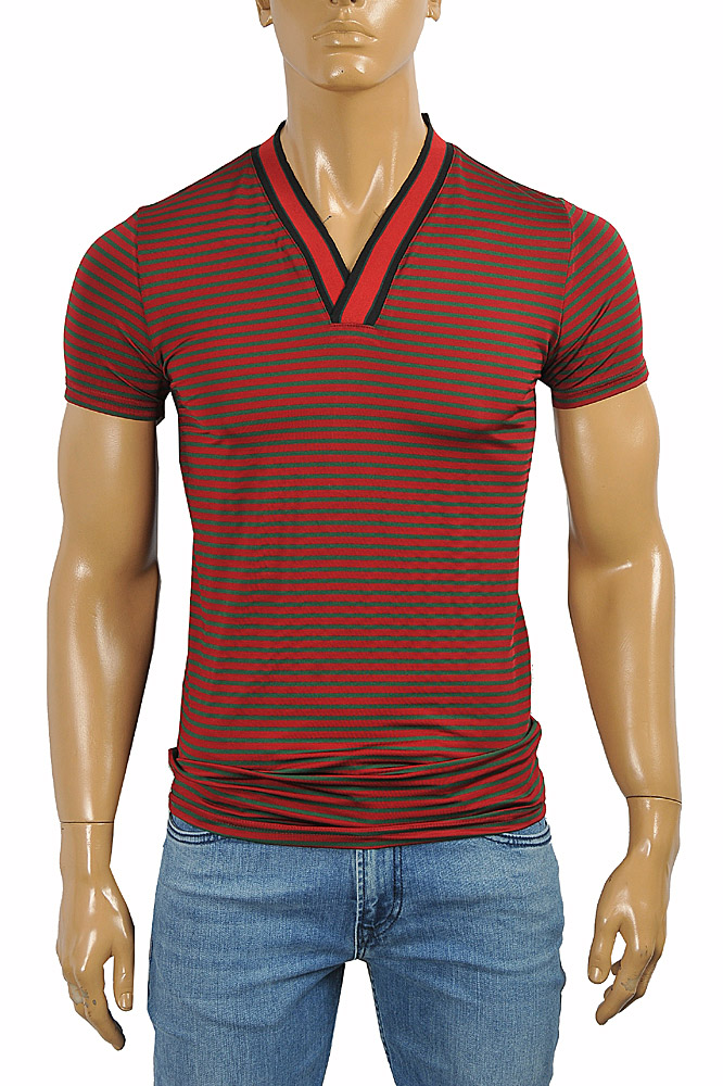 Mens Designer Clothes | GUCCI cotton V-neck T-shirt collar embroidery #250