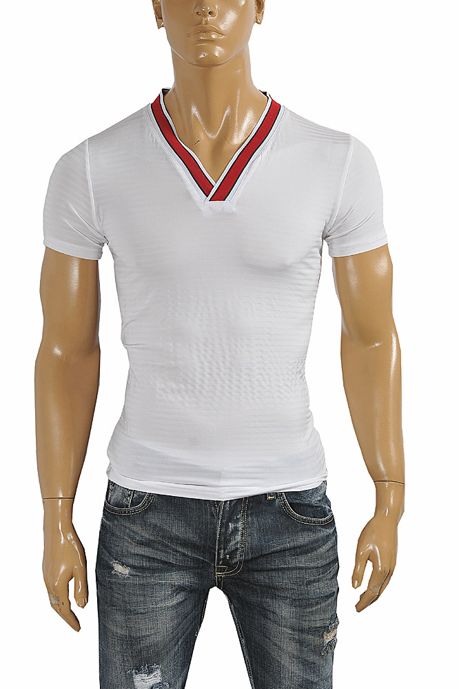 Mens Designer Clothes | GUCCI cotton V-neck T-shirt collar embroidery #251