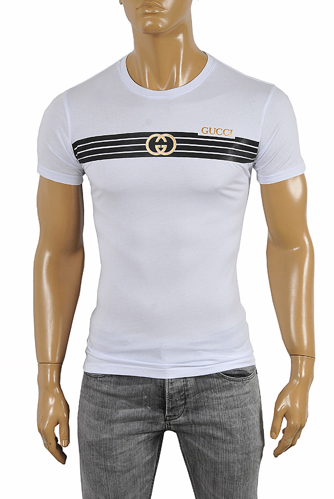 Mens Designer Clothes | GUCCI cotton T-shirt with front print 256