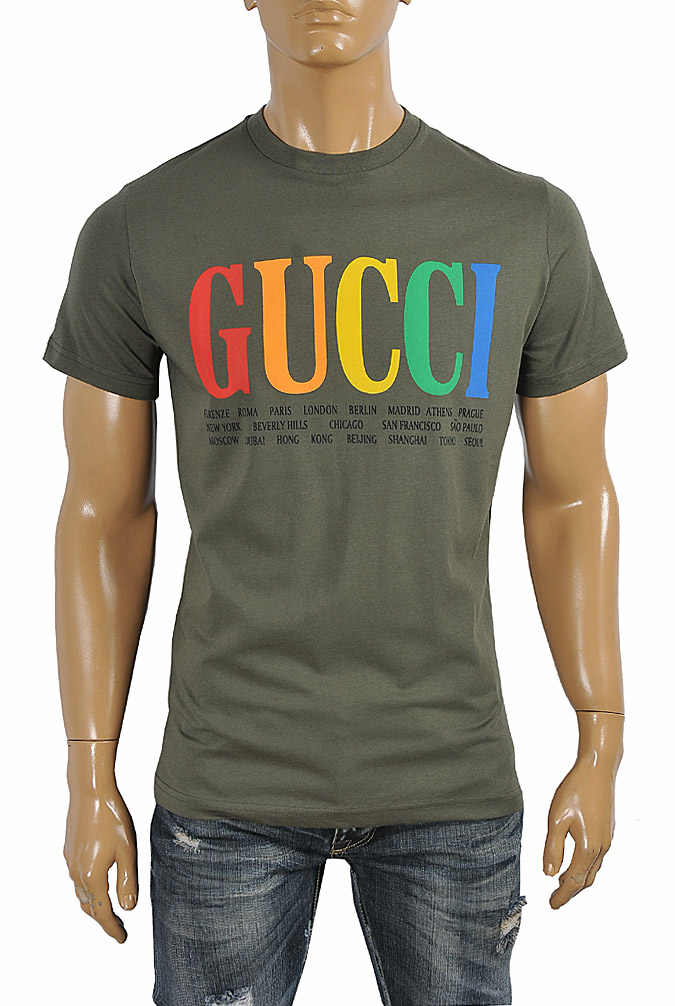 Mens Designer Clothes | GUCCI cotton T-shirt with front print 262