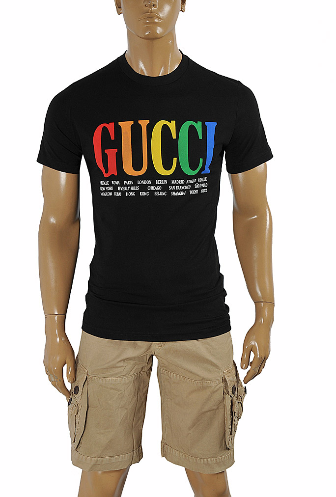 Mens Designer Clothes | GUCCI cotton T-shirt with front print in royal black 264