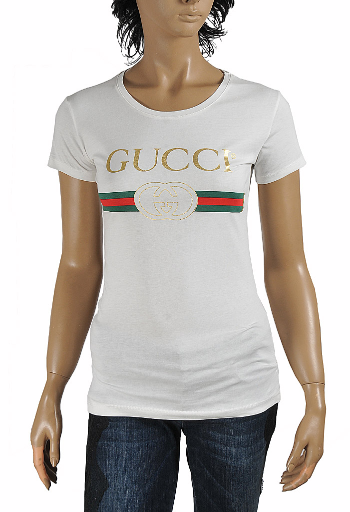 Womens Designer Clothes | GUCCI women's cotton t-shirt with front logo print 267