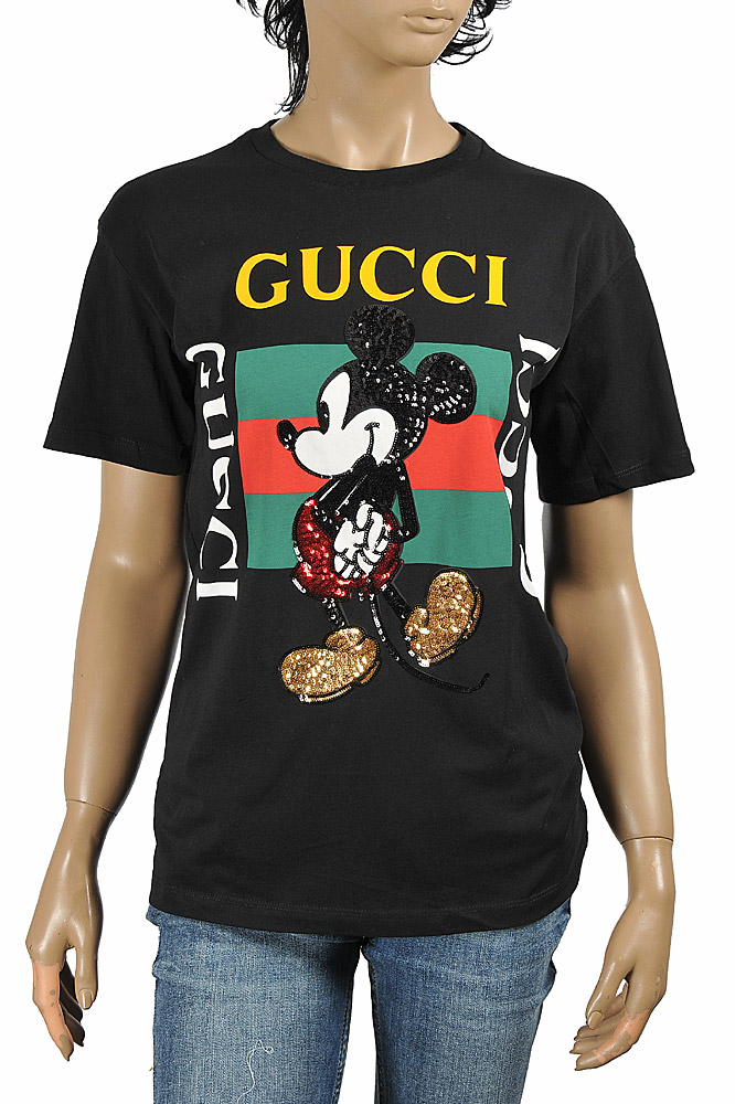 Womens Designer Clothes | DF NEW STYLE, DISNEY x GUCCI men's T-shirt with front vintage lo