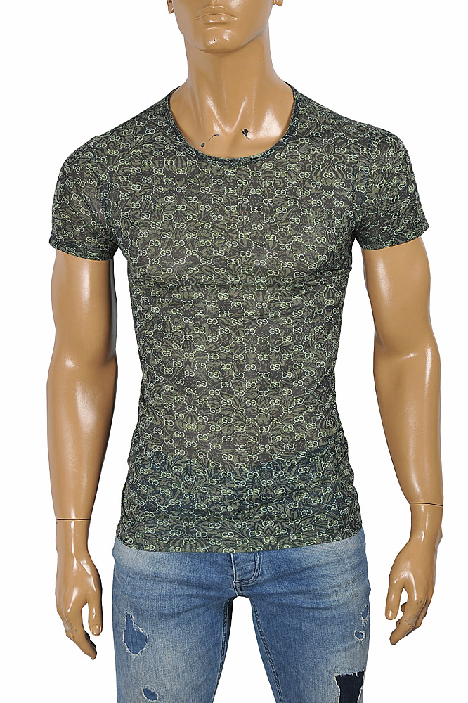 Mens Designer Clothes | GUCCI cotton T-shirt with signature GG print 278