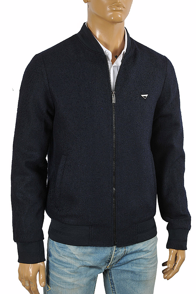 Mens Designer Clothes | PRADA men's bomber knitted jacket in navy blue 42