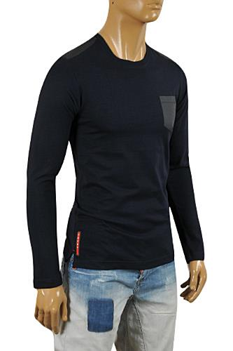 Mens Designer Clothes | PRADA Men's Long Sleeve Fitted Shirt In Navy Blue #88
