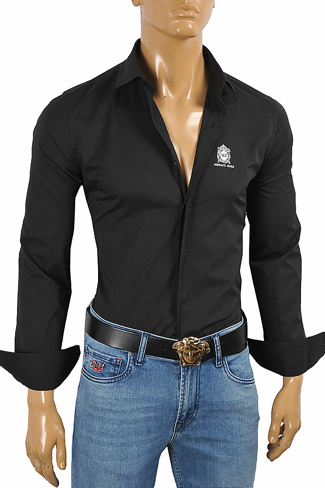 Mens Designer Clothes | VERSACE Men's Dress Shirt In Black With Embroidery 183