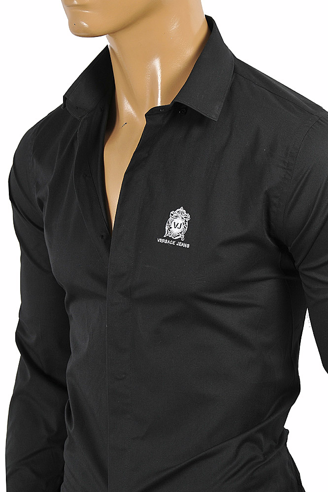 Mens Designer Clothes Versace Mens Dress Shirt In Black With