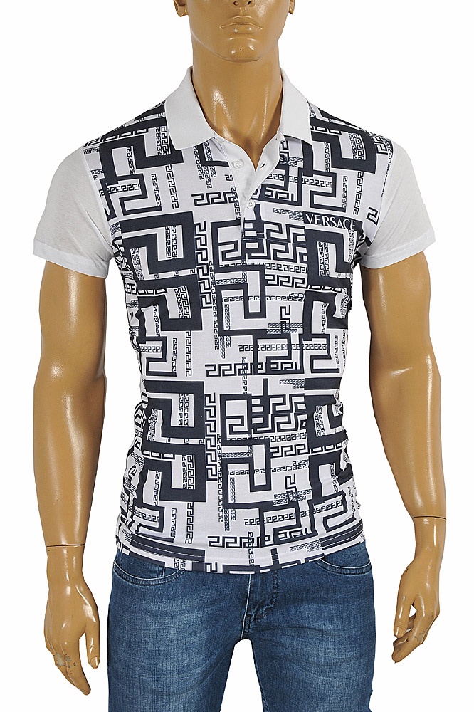 Mens Designer Clothes | VERSACE men's polo shirt with front print #174