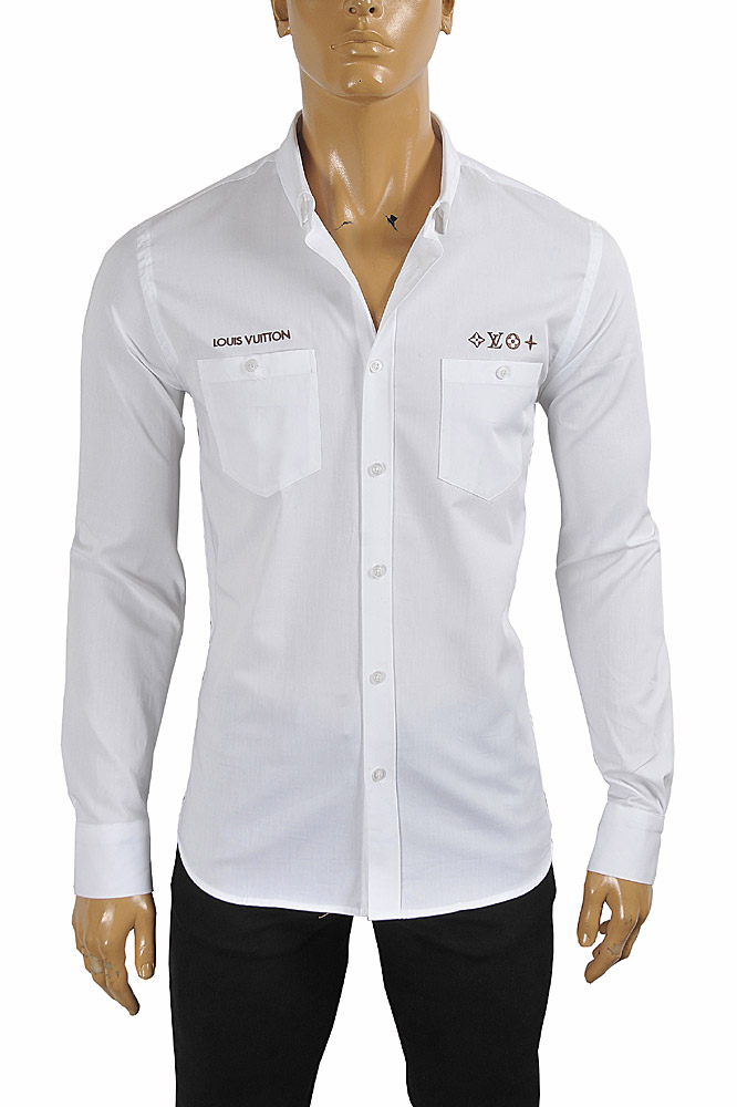Mens Designer Clothes | LOUIS VUITTON men's dress shirt with front embroidery 1