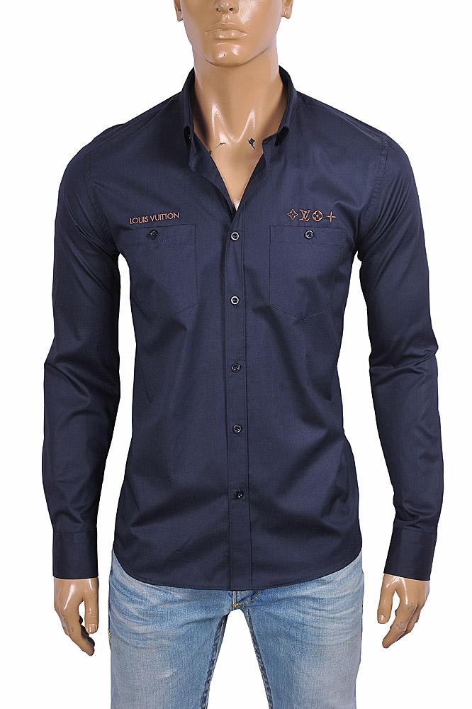 Mens Designer Clothes | LOUIS VUITTON men's dress shirt with front embroidery 2