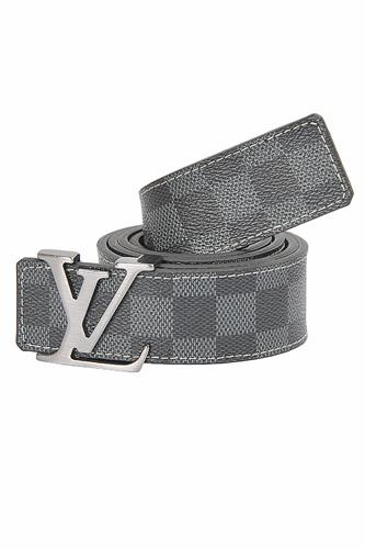LOUIS VUITTON leather belt with silver buckle 77