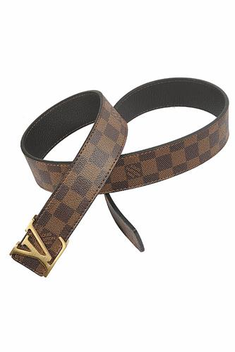 LOUIS VUITTON leather belt with gold buckle 78