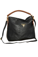 PRADA Medium Patent Leather Round-Toe Hobo Bag #10