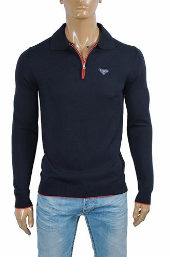 PRADA men's zip knit sweater in navy blue 16